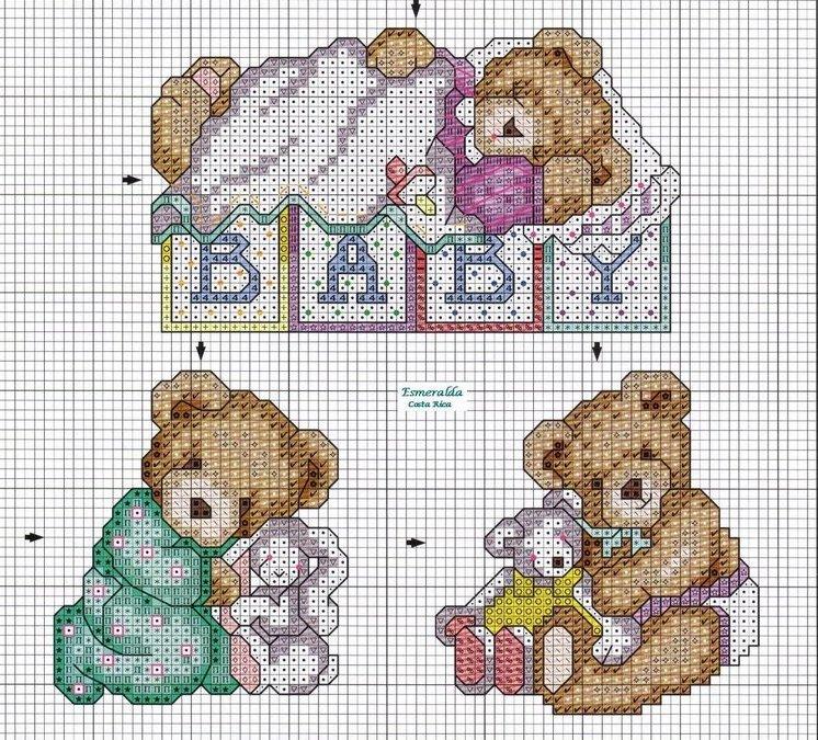 Schema punto croce orsettini for Schemi punto croce animali per bambini