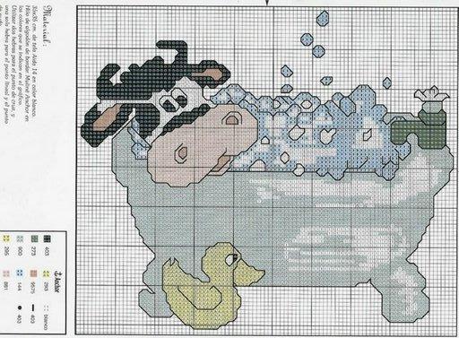 Schema punto croce mucca fa il bagno