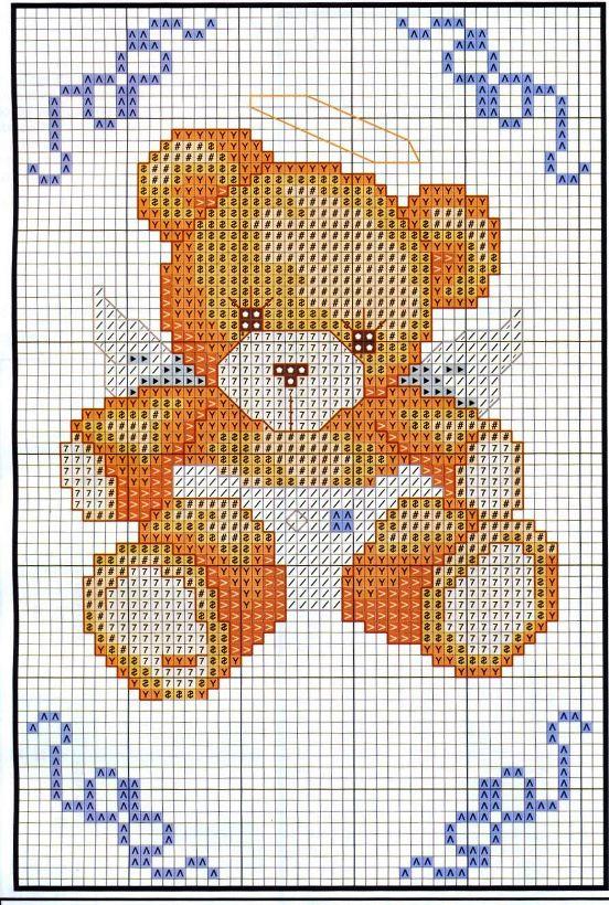Schema punto croce orsetto angioletto for Schema punto croce orsetto