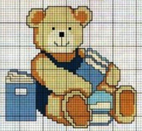 Schema punto croce orsetto con libri for Schema punto croce orsetto