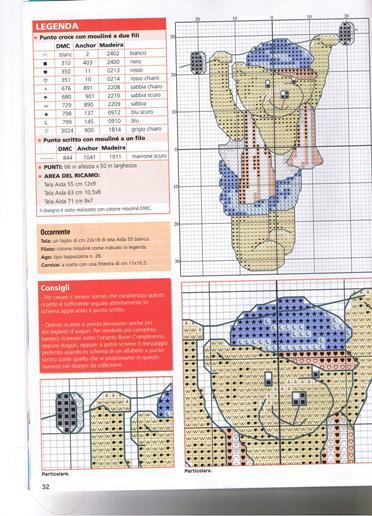 Schema punto croce orsetto ginnastica for Schema punto croce orsetto