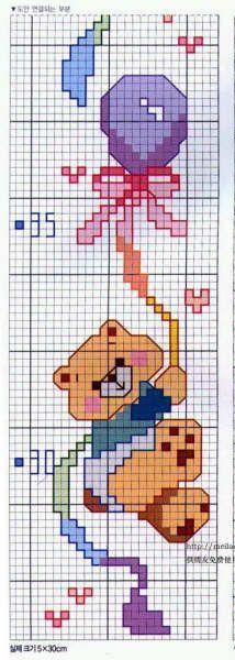 Schema punto croce orsetto palloncino for Schema punto croce orsetto