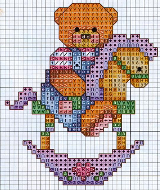 Schema punto croce orsetto su dondolo for Schema punto croce orsetto