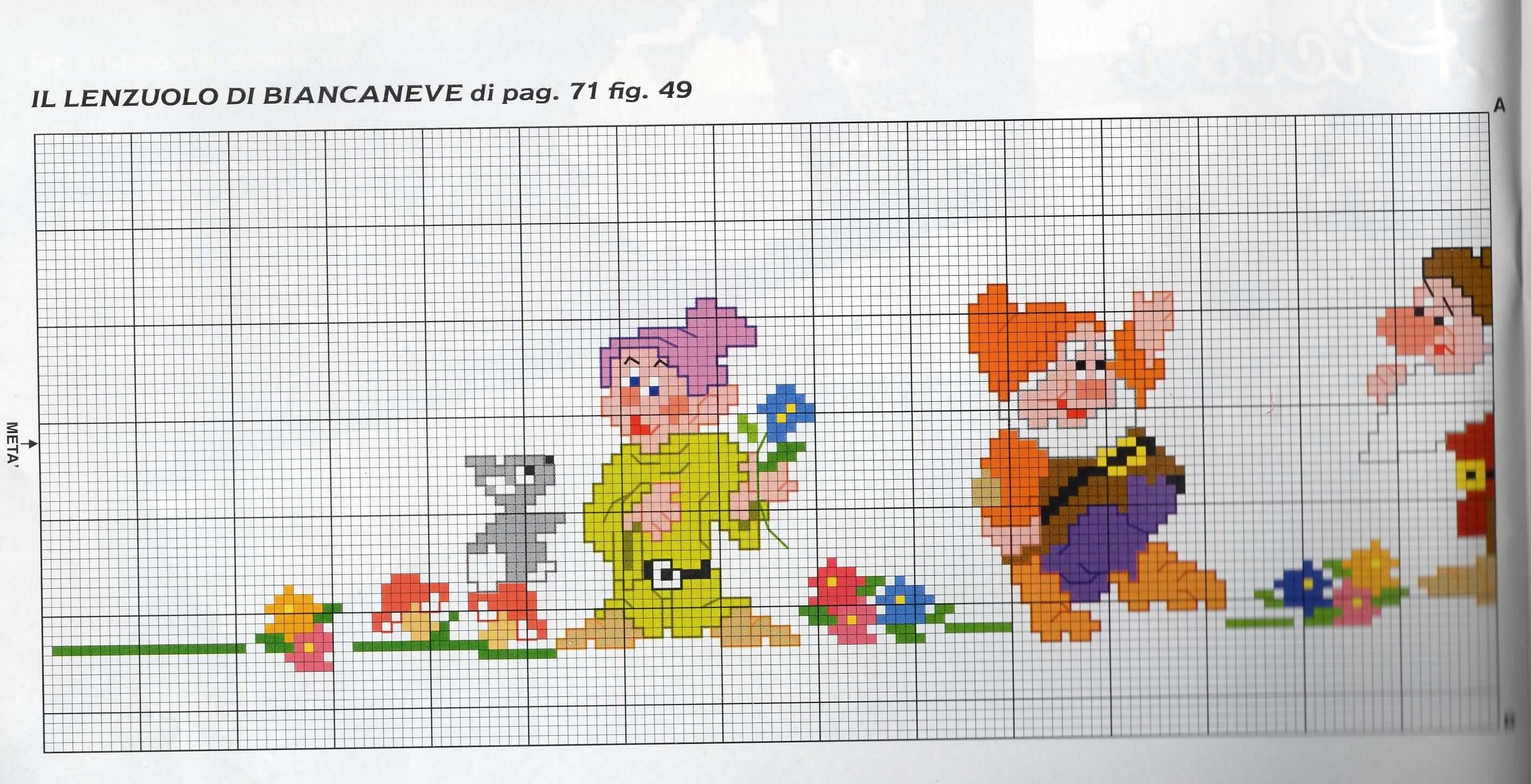 Schema punto croce bordura lenzuolino 1 for Lenzuolini punto croce per bambini