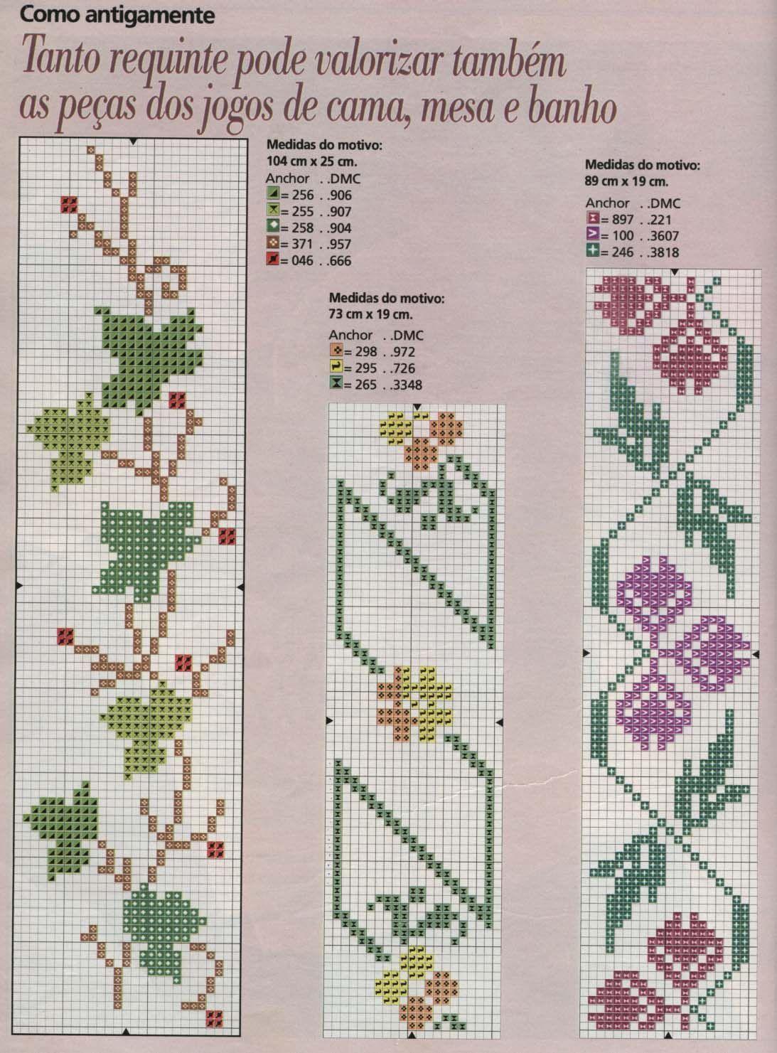Schema punto croce bordi fiori e foglie for Bordi punto croce