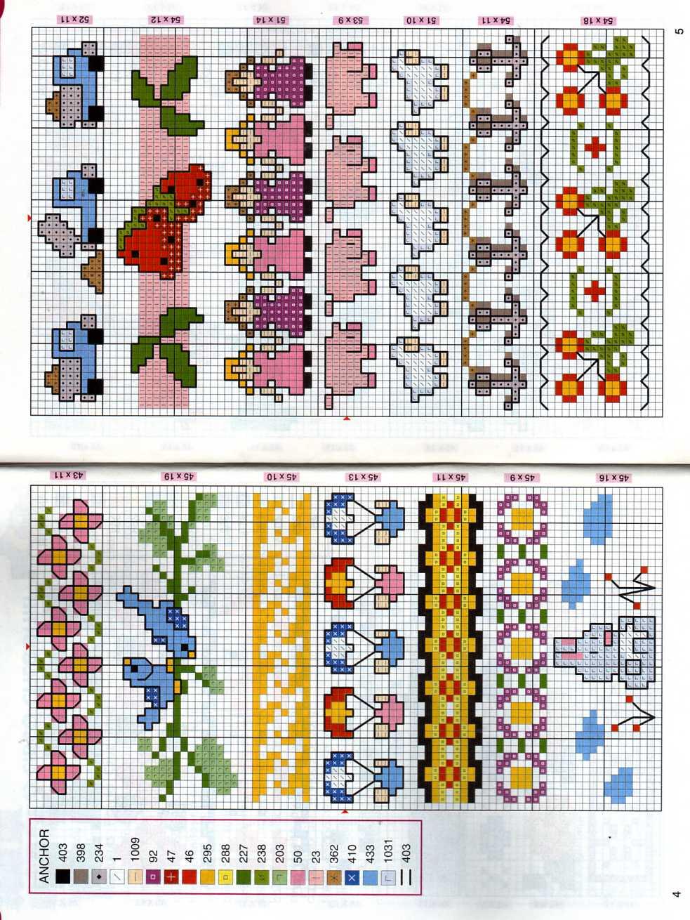 Schema punto croce piccoli bordi 03 for Bordi punto croce