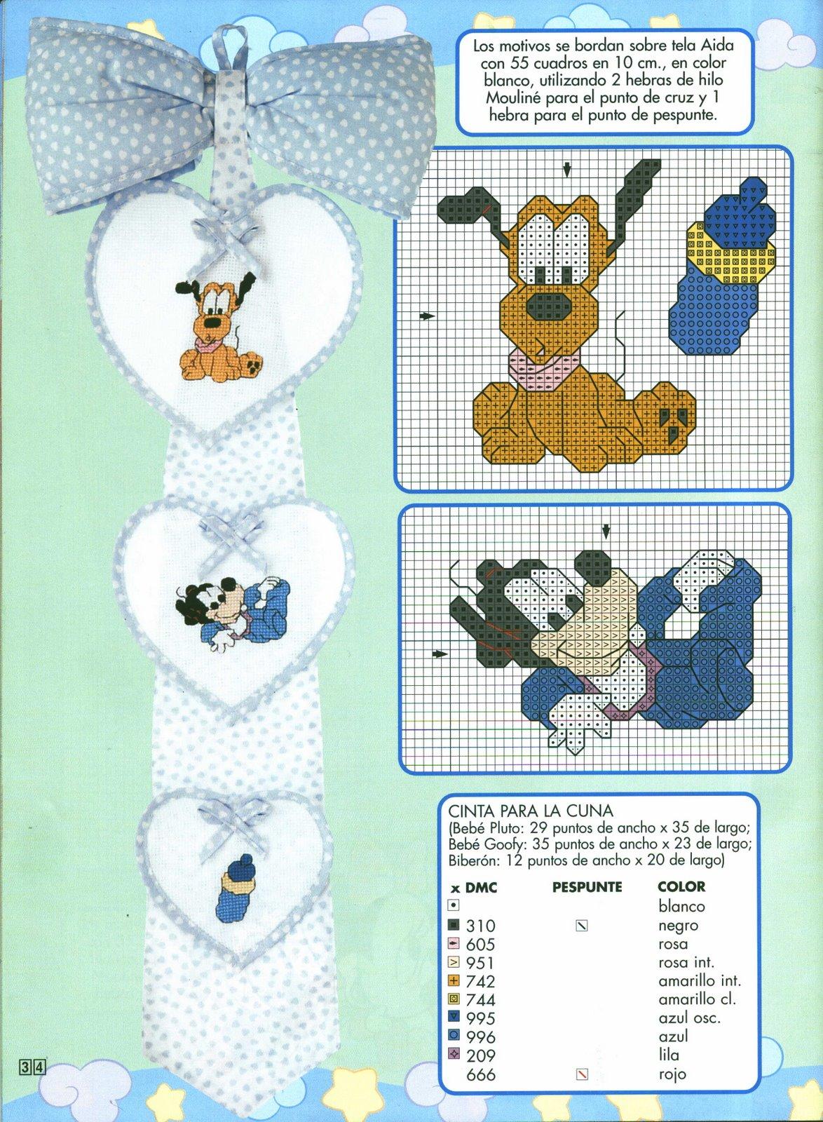 Schema Punto Croce Nascita Bebe Disney