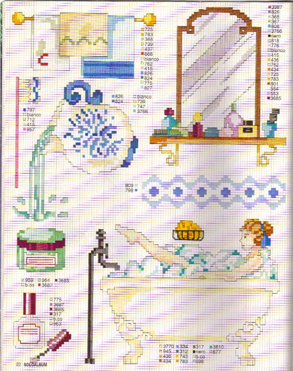 schemi bagno clown e bambini punto croce crocettine 198