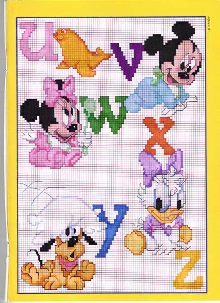 93 Lettere Disney Punto Croce Alfabeto Stampatello