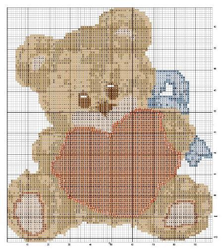Schema punto croce orsetto cuore for Schema punto croce orsetto