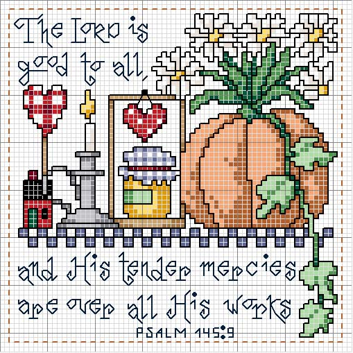 Schematic cross stitch Psalm 145 9