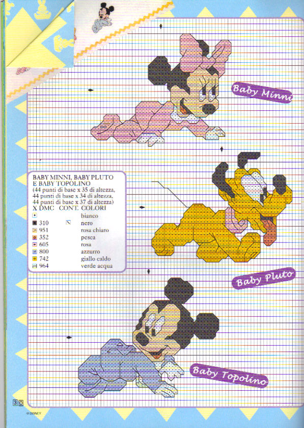 abbastanza Schema Punto Croce Baby Disney 18 PF56