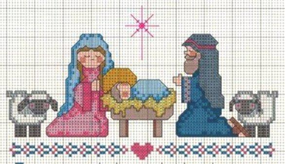 Schema punto croce Natale Presepe