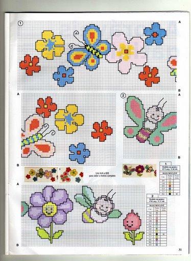 schema punto croce farfalle fiori