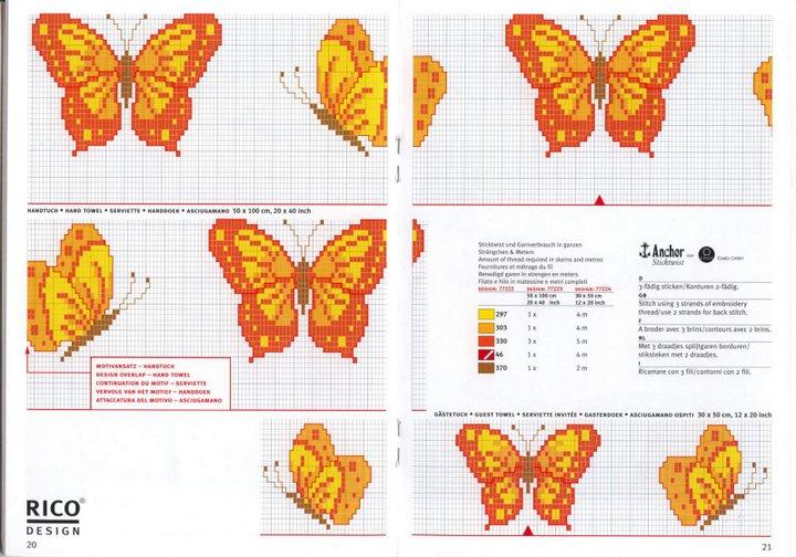 Schema punto croce farfalle gialle for Farfalle da ricamare