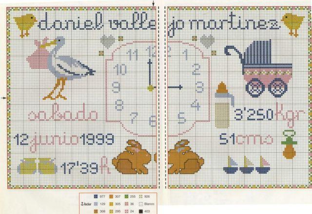 Schema punto croce orologio nascita for Orologio punto croce schemi gratis
