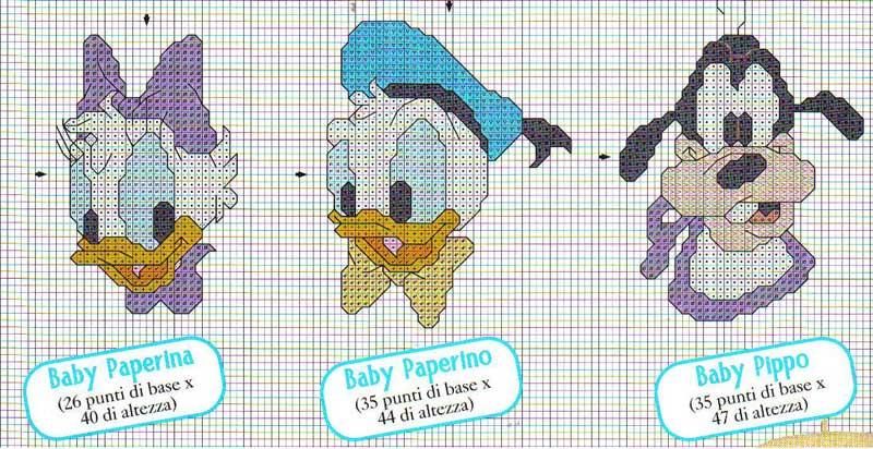 Famoso Schema Punto Croce Facce Baby Disney YV53