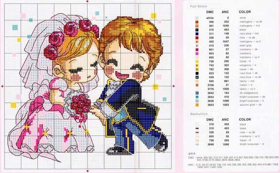 Схема вышивок крестиком к свадьбе