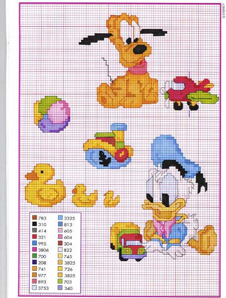 Super Schema Punto Croce Baby Pluto Paperino TO54