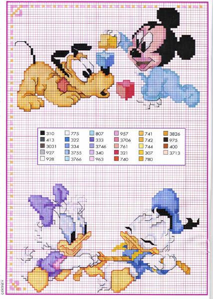 Schema Punto Croce Baby Pluto Topolino Paperino Paperina
