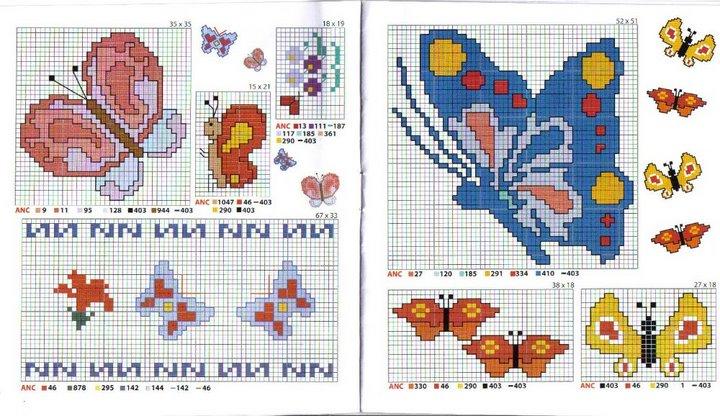Schema punto croce bordi farfalle for Farfalle da ricamare