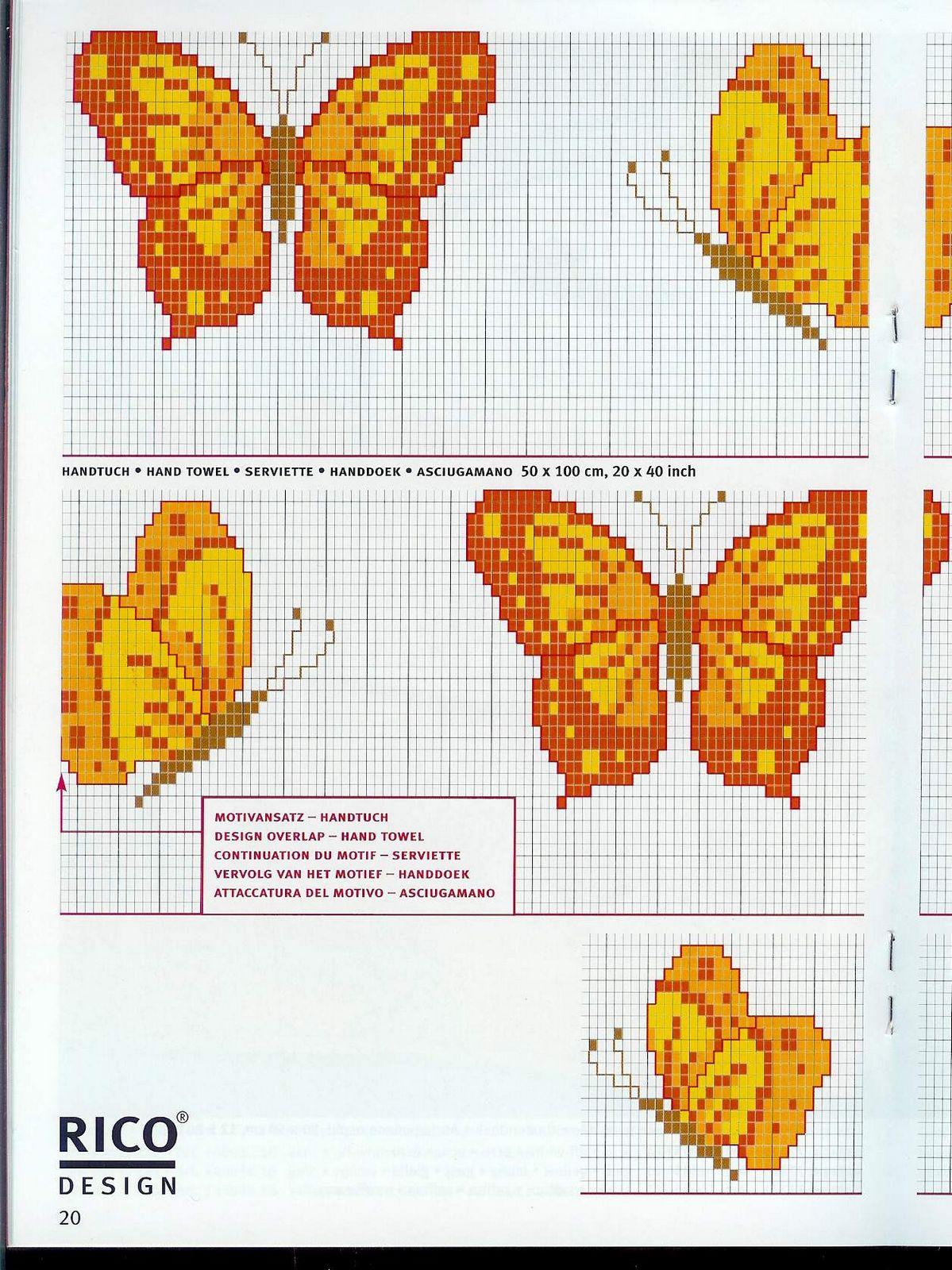 Schema punto croce farfalla for Farfalle a punto croce