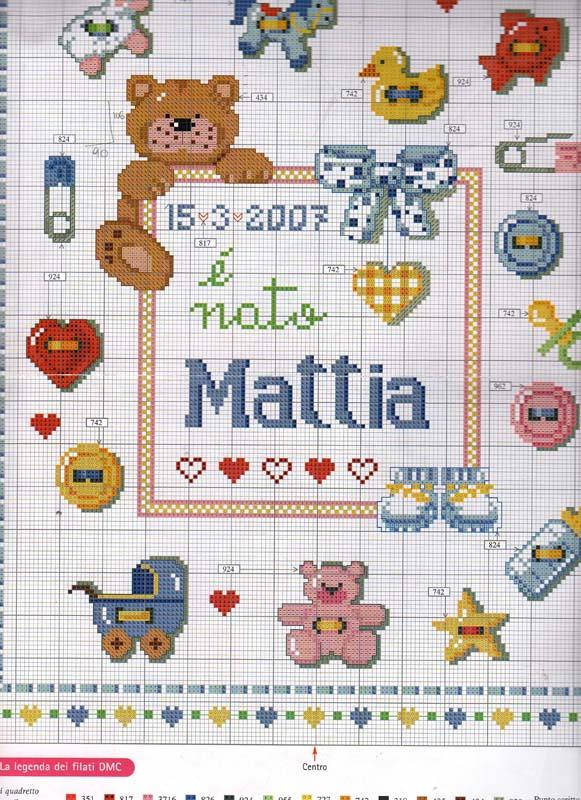 Super Schema Punto Croce Nascita Mattia RW32
