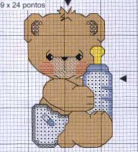 Schema punto croce orsetto baby biberon 2 for Schema punto croce orsetto