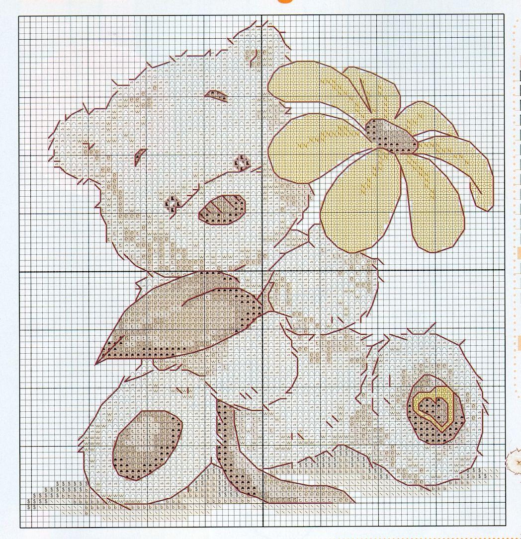 Schema punto croce orsetto fiore for Schema punto croce orsetto