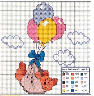 Schema punto croce orsetto palloncini 1 for Schema punto croce orsetto