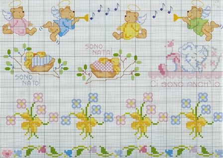 Schemi punto croce orsetti disney e piedi di ballerina for Schema punto croce orsetto