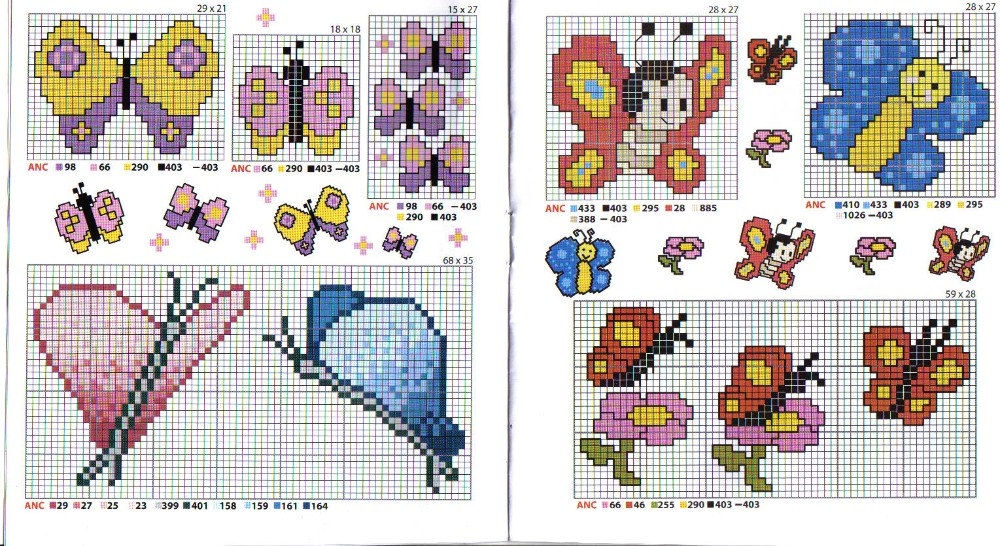Schema punto croce belle farfalle 2 for Farfalle da ricamare