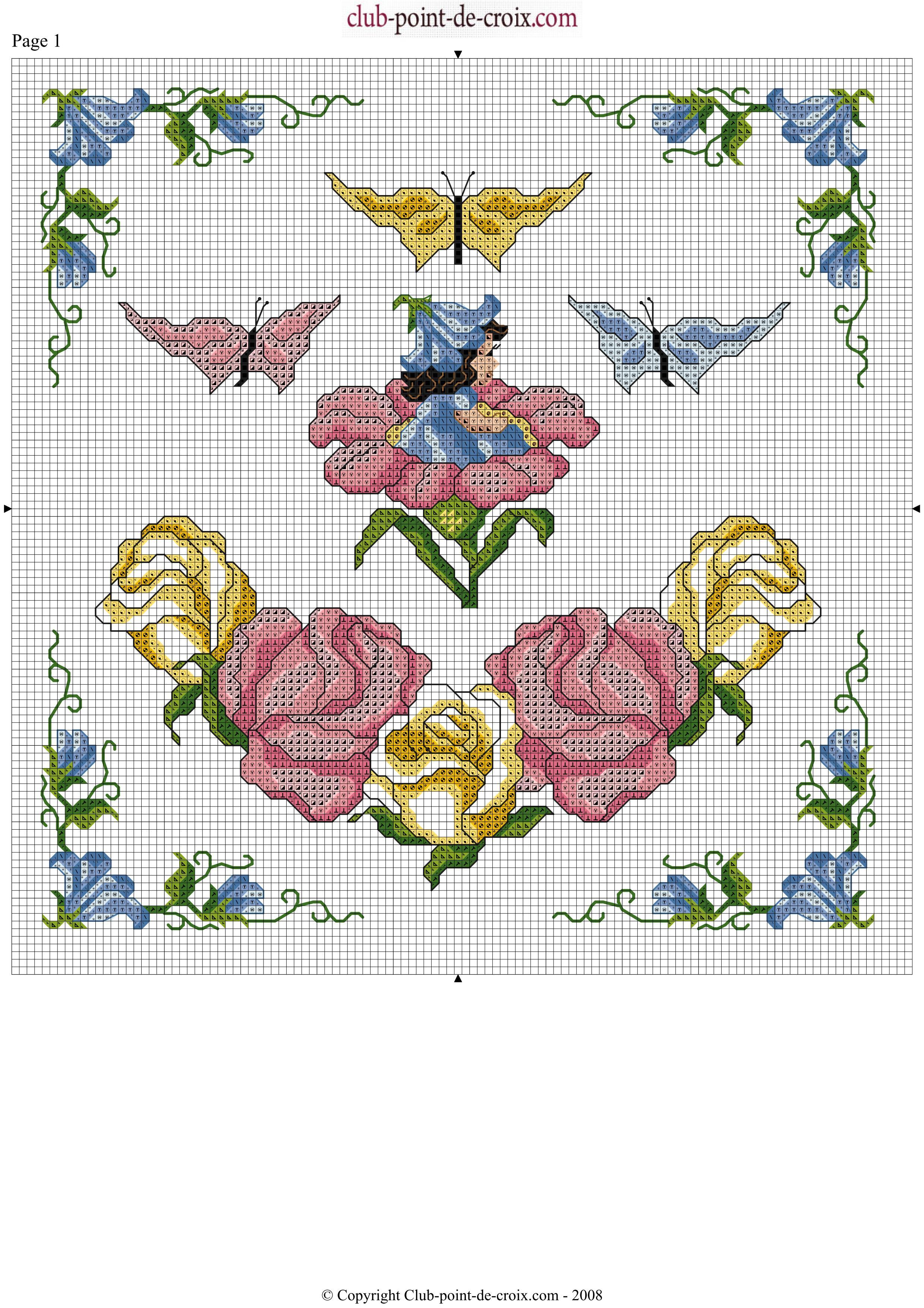 Schema punto croce fiori farfalle belle for Schemi punto croce fiori e farfalle