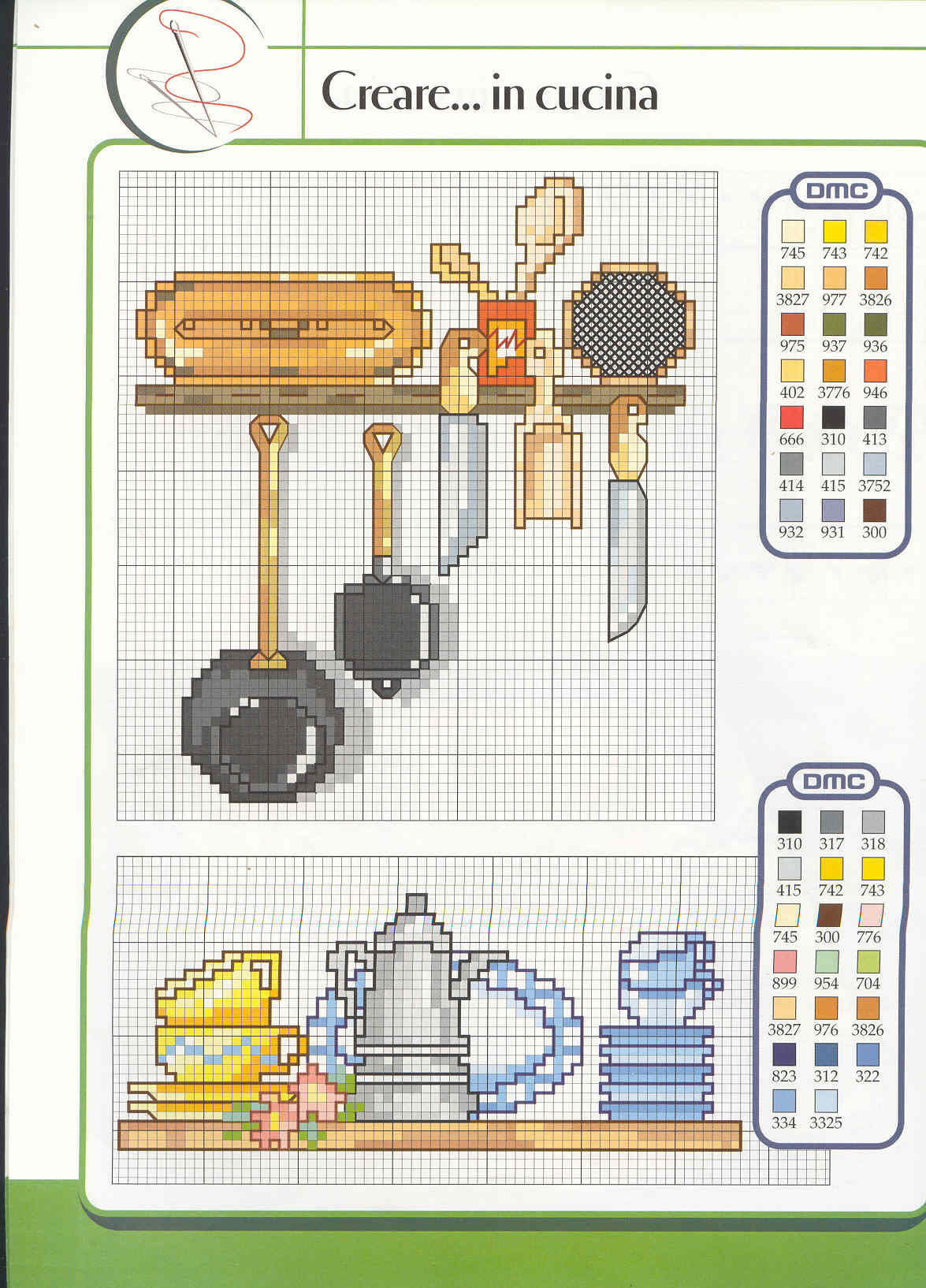 Schema punto croce Utensili Cucina 01