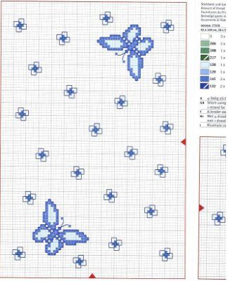Schema punto croce farfalla azzurra b for Farfalle punto croce schemi