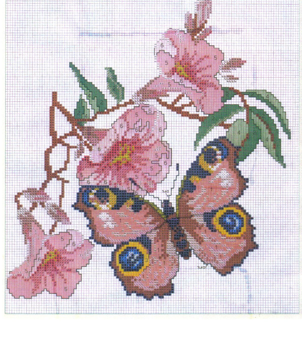 Schema punto croce farfalla su fiore rosa for Punto croce fiori e farfalle