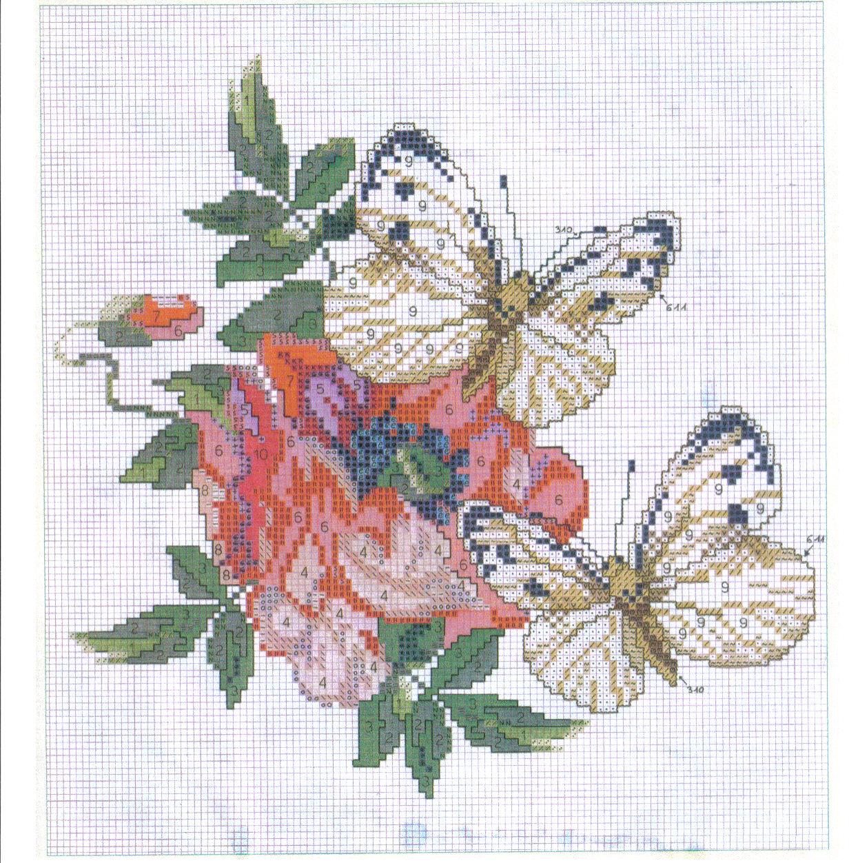 Schema punto croce farfalle fiore rosso for Farfalle punto a croce