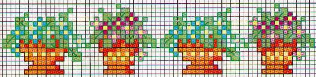 Schema punto croce Fiori Bordovasi