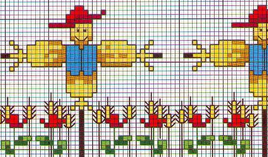 Schema punto croce Fiori Spaventapasseri