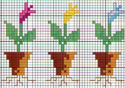 Schema punto croce Fiori Tre fiori