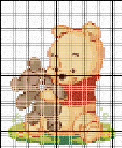 Cerco schemi winnie the pooh e amici for Schema punto croce orsetto