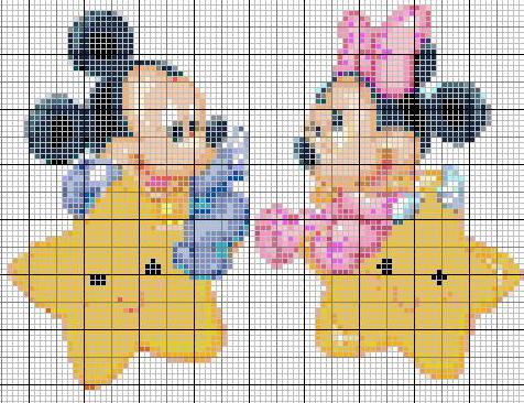 Minnie E Topolino Baby Punto Croce Images