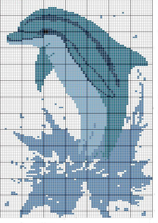 Schema Punto Croce Delfino