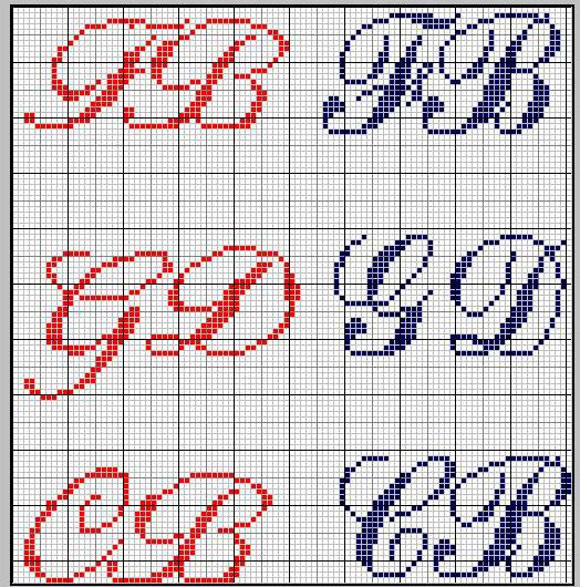 schema punto croce iniziali jadir3