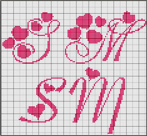 Schema punto croce simona massimo2 for Ricamo punto croce lettere