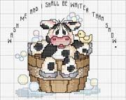 Schéma point de croix Cow- baignoire