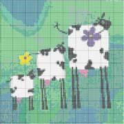 Schema punto croce Tre Mucche