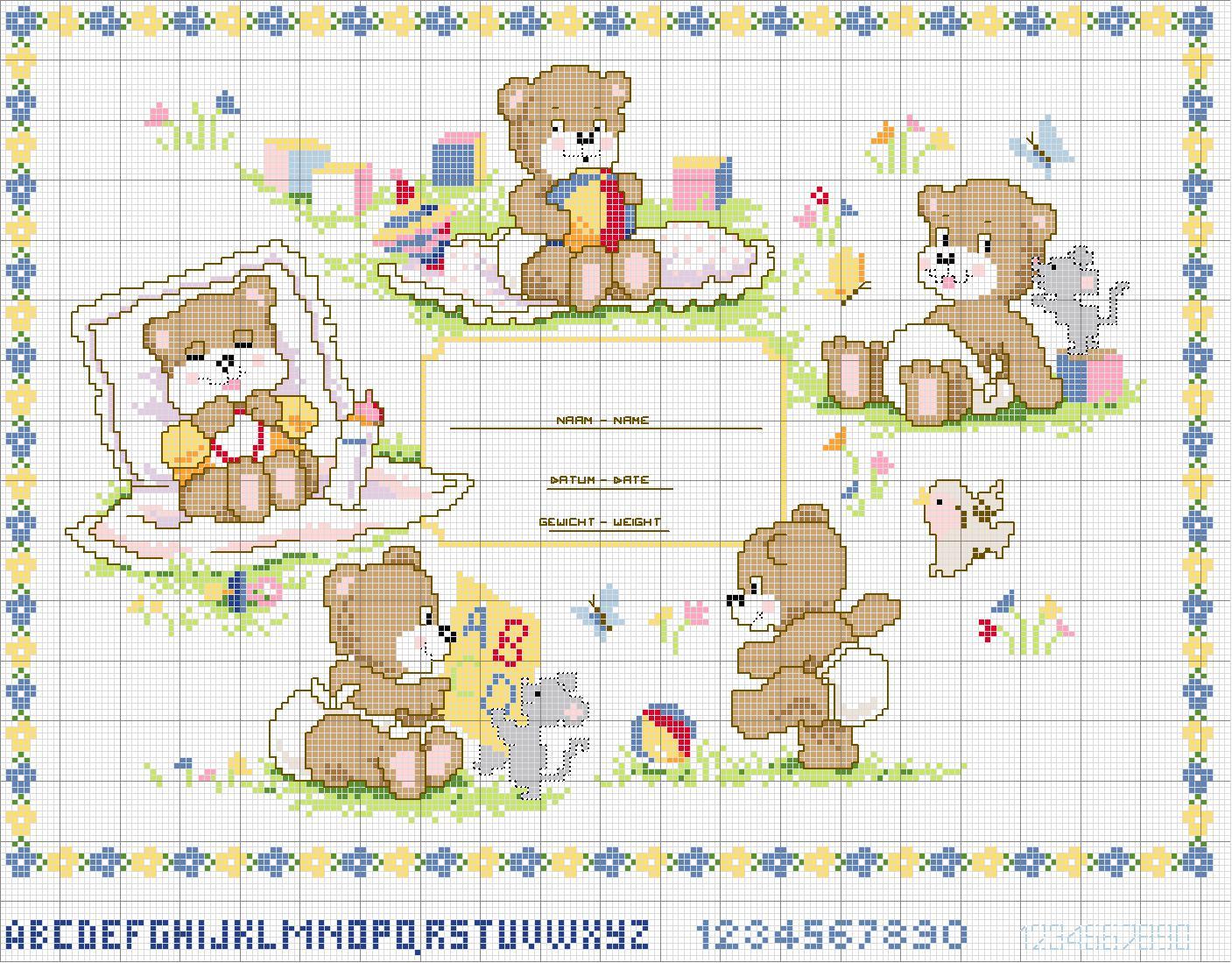 Schema punto croce orsetti 18a for Orsetti a punto croce schemi
