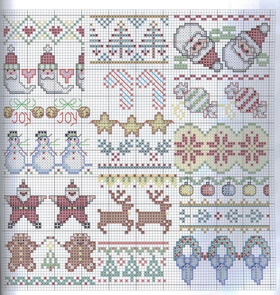 Schema punto croce bordi natalizi for Bordi punto croce