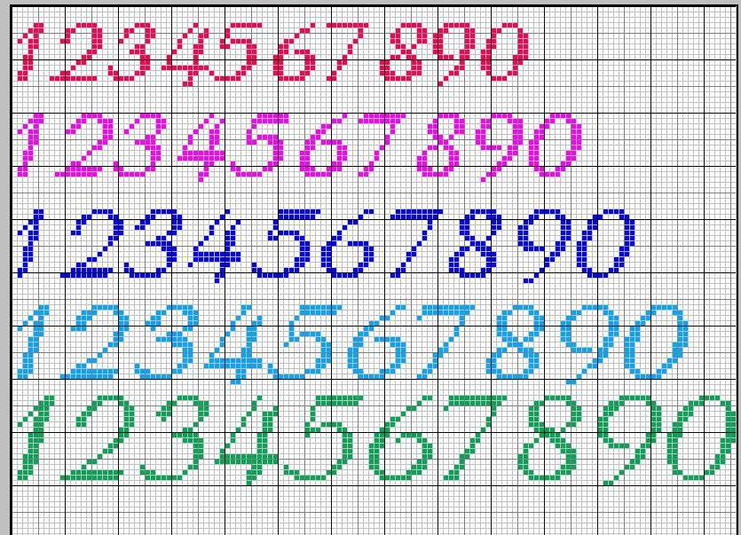 Schema punto croce Numeri fiolex